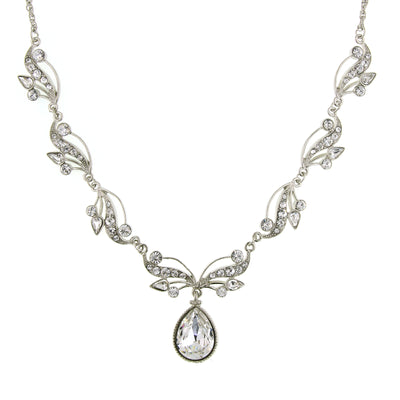Silver-Tone Vine Teardrop Necklace 16 In Adj with Swarovski Crystals