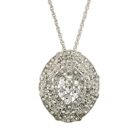 Silver-Tones Oval Pendant Necklace 16 In Adj with Swarovski Crystals