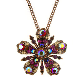 Fashion Jewelry - Antiquities Couture Flower Glitz Crystal & Copper Tone Pendant Necklace