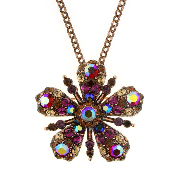 Flower Glitz Crystal Jet Pendant Necklace