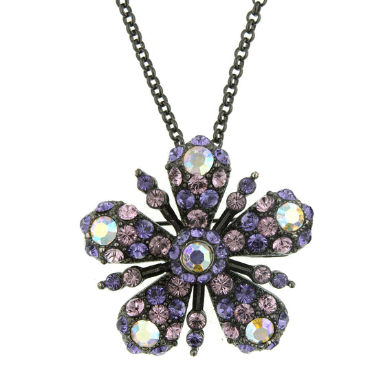 Fashion Jewelry - Antiquities Couture Flower Glitz Crystal & Jet Pendant Necklace