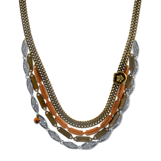 Vintage Chain Collar Necklace Rose Accent and Gemstone Tiger s Eye 16