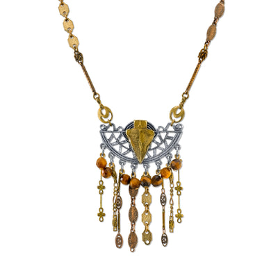 Mixed Metals Vintage Chain Necklace Arrow And Gemstone Tiger S Eye 16   19 Inch Adjustable