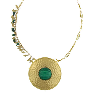 14K Gold Dipped Leaf Fringe Gemstone Malachite Hammered Disk Necklace 18 In