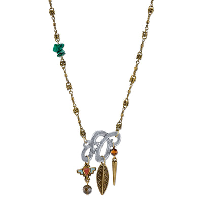 Mixed Metal Necklace With Gemstone Malachite Labradorite And Tigers Eye 18 In