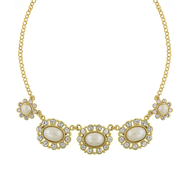 Gold-Tone Costume Pearl and Crystal Collar Necklace 16 In Adj