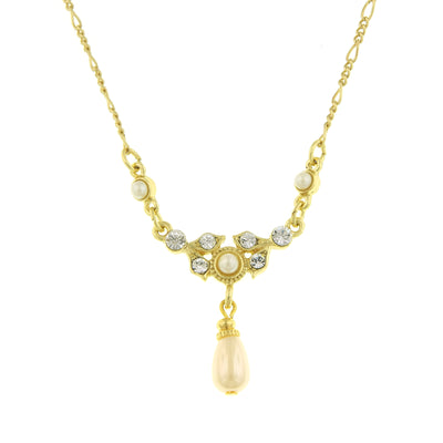 **Gold Tone Costume Pearl And Crystal Teardrop Necklace 16   19 Inch Adjustable