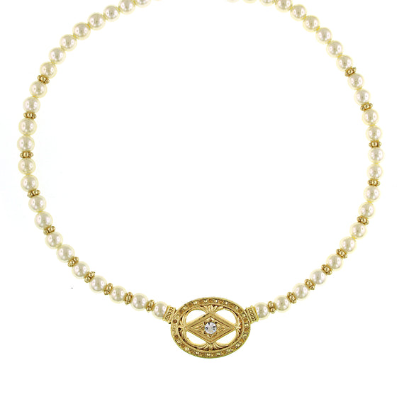 Signature Gold-Tone Faux Pearl and Crystal Pendant Necklace