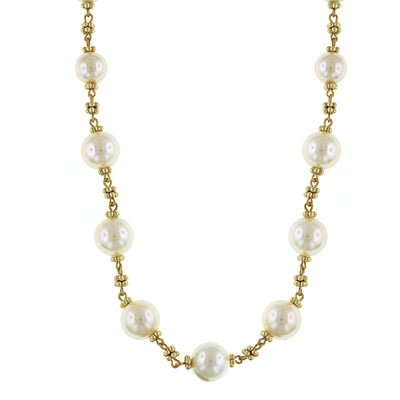 Gold-Tone Costume Pearl Beaded Necklace 16 - 19 Inch Adjustable