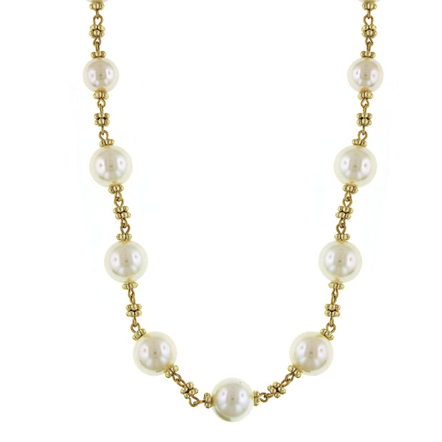 1928 Jewelry Gold-Tone Costume Pearl Beaded Necklace