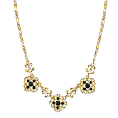 Gold-Tone Jet Filigree Collar Necklace 16 - 19 Inch Adjustable