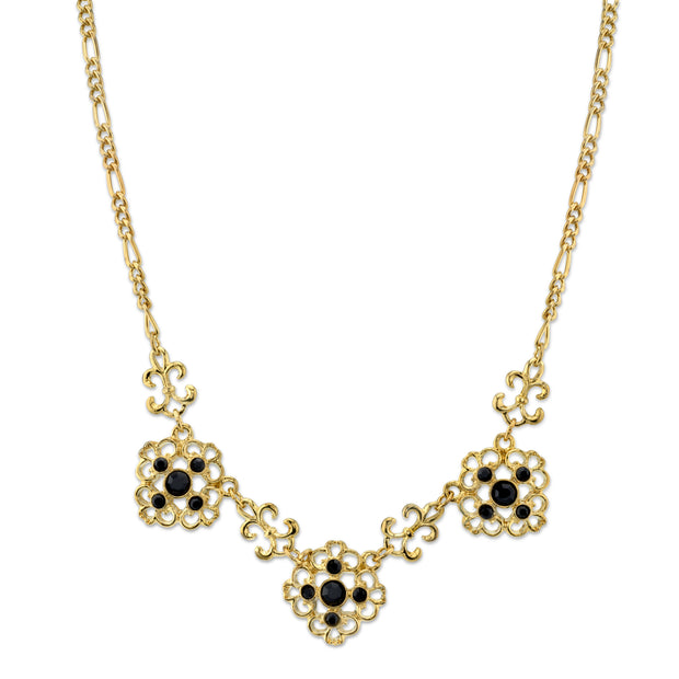 Gold-Tone Jet Filigree Collar Necklace 16 In Adj
