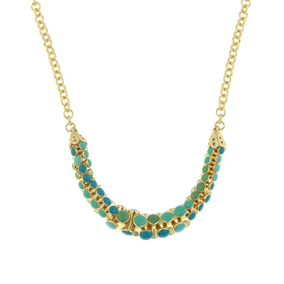 Gold Tone Turquoise Necklace 16   19 Inch Adjustable