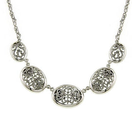 1928 Jewelry: 1928 Jewelry - Vintage Lace Silver -Tone Oval Pendants Necklace