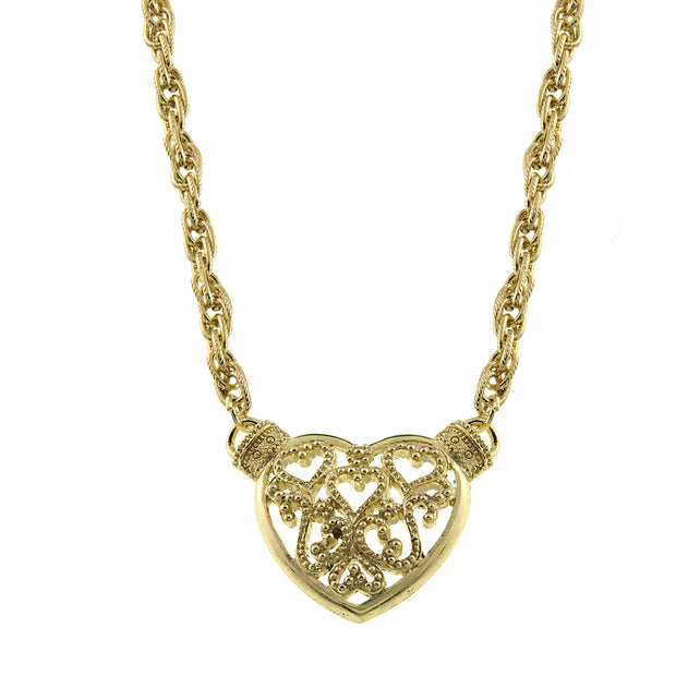 Gold-Tone Filigree Heart Pendant Necklace 16 - 19 Inch Adjustable