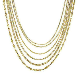 Gold-Tone Layered Chain Draped Necklace 16  Adj.