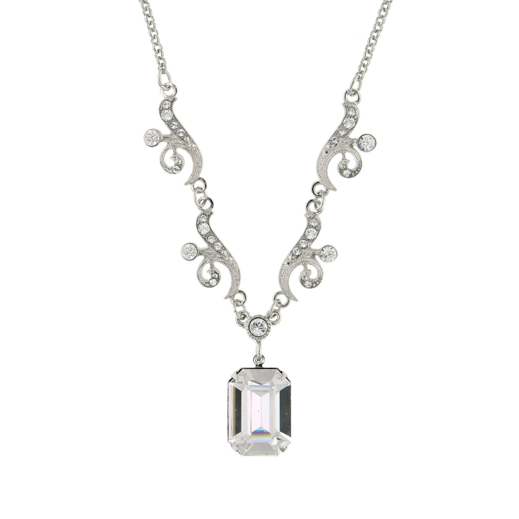 Silver Tone Genuine Swarovski Crystal Pendant Drop Necklace