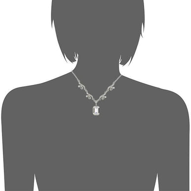 Silver Tone Genuine Swarovski Crystal Pendant Drop Necklace Silouette