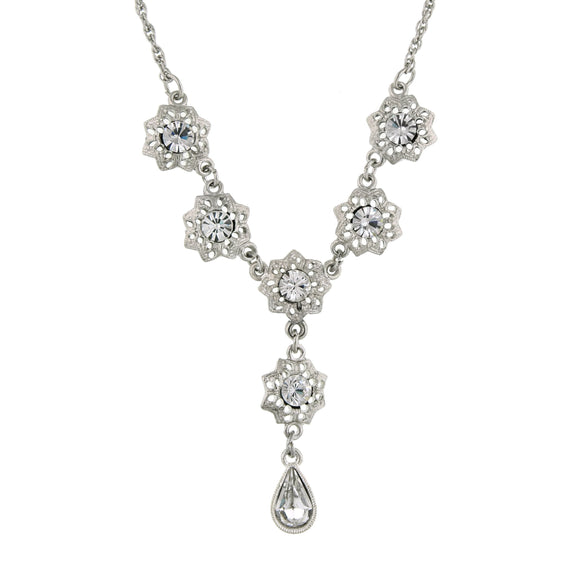 1928 Jewelry - Zarina Flower Crystal Pear-Shaped Drop Necklace