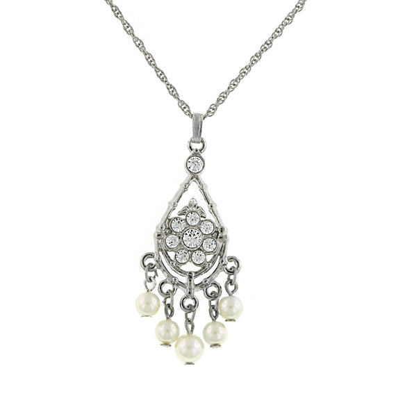 1928 Jewelry: 1928 Jewelry - Silver-Tone Crystal and Faux Pearl Pendant Necklace