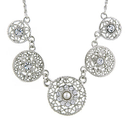 1928 Jewelry: 1928 Jewelry - Silver-Tone Crystal Filigree Collar Necklace
