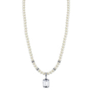 Silver-Tone  Costume Pearl And Swarovski Crystal Square Pendant Necklace 16 - 19 Inch Adjustable