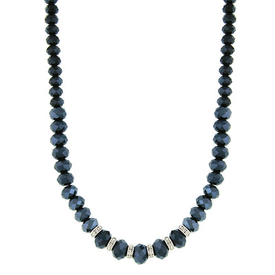 Silver-Tone Jet Blue Ab W/Crystals Necklace 16 - 19 Inch Adjustable