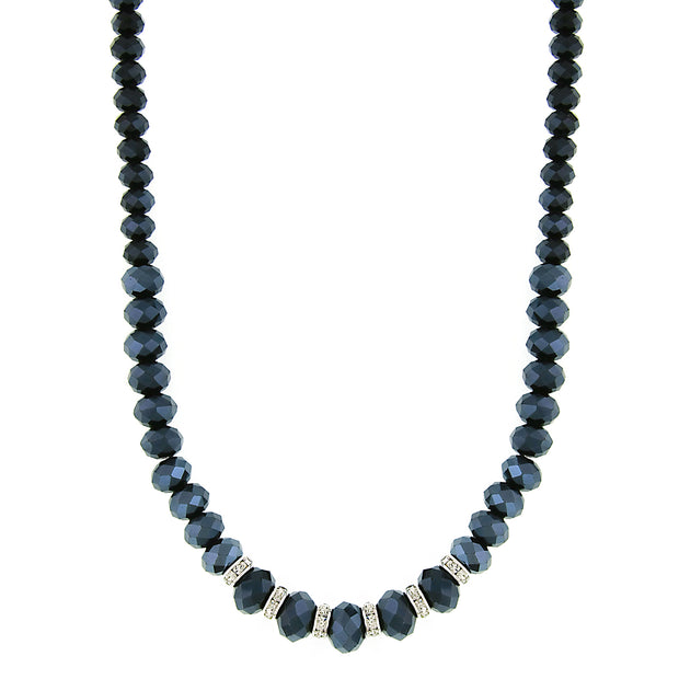 Silver-tone Jet Blue AB w/Crystals Necklace 16 In Adj