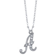 Silver-Tone Crystal Initial Necklace 16 - 19 Inch Adjustable