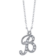 Silver-Tone Crystal Initial Necklaces 16 Adj B