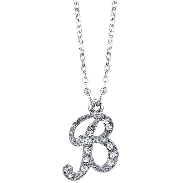 Silver Tone Crystal Initial Necklaces 16 Adj B