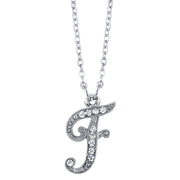 Silver Tone Crystal Initial Necklaces 16 Adj F