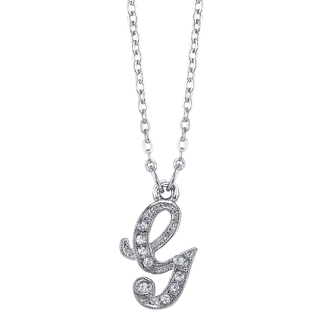 Silver Tone Crystal Initial Necklaces 16 Adj G