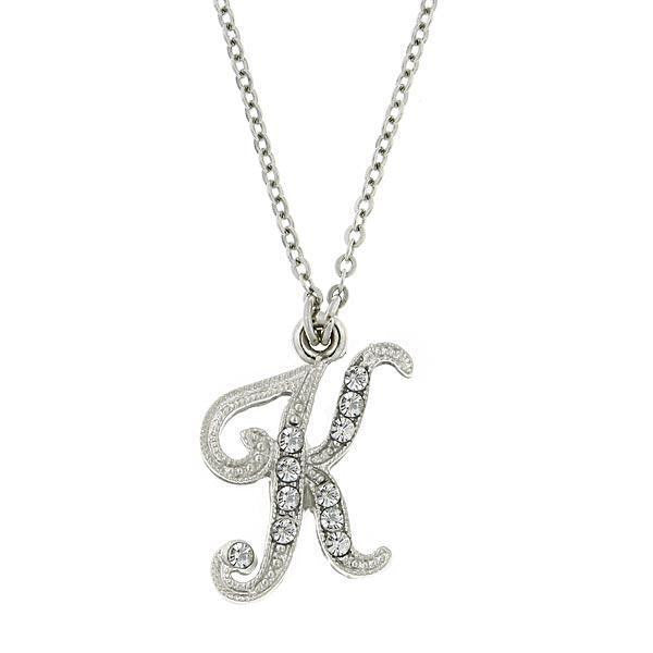 "Silver-Tone Crystal Initial ""K"" Charm Necklace"