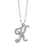 Silver Tone Crystal Initial Necklaces 16 Adj K