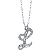 Silver Tone Crystal Initial Necklaces 16 Adj L