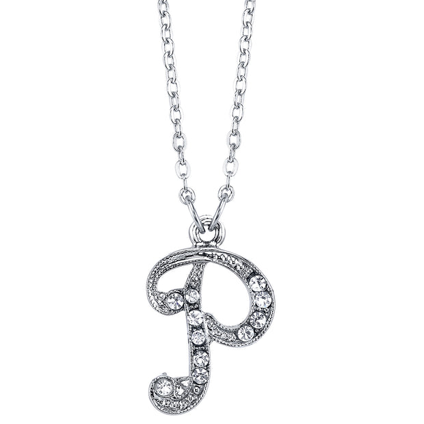 Silver Tone Crystal Initial Necklaces 16 Adj P