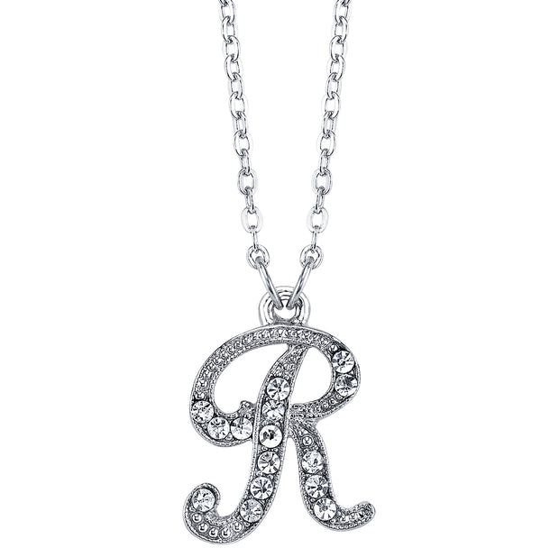 Silver-Tone Crystal Initial Necklaces 16 Adj R