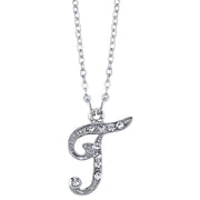 Silver Tone Crystal Initial Necklaces 16 Adj T