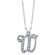 Silver Tone Crystal Initial Necklaces 16 Adj W