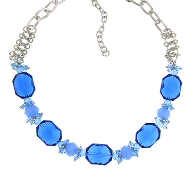 Silver Tone Bright Blue Beaded Necklace 16   19 Inch Adjustable