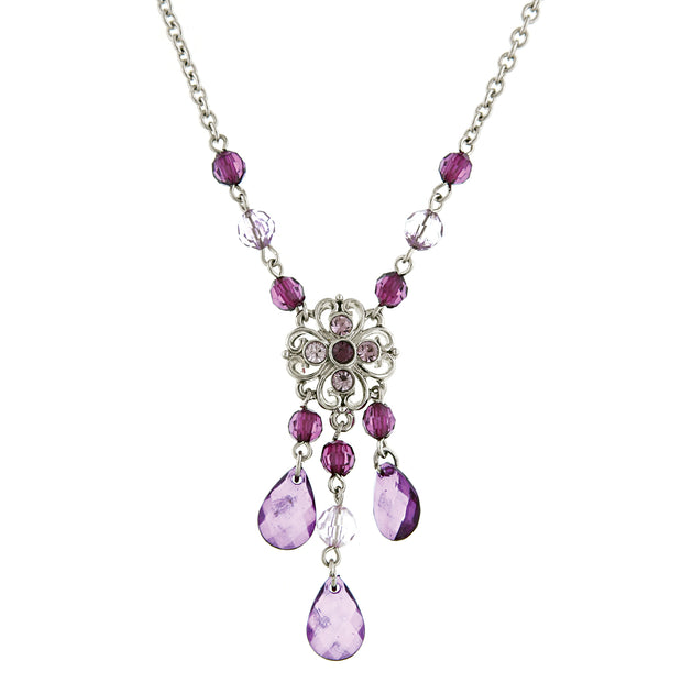 Silver-Tone Purple Chandelier Necklace 16 In Adj