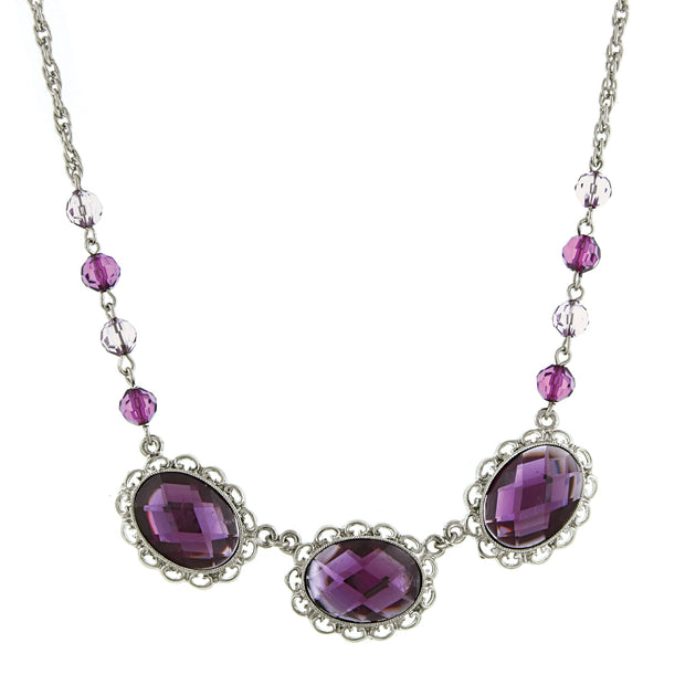Silver-Tone Amethyst Faceted Collar Necklace 16 In Adj