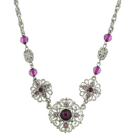 Fashion Jewelry - 2028 Spring Violet Amethyst Glass Stone Collar Necklace