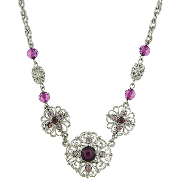 Silver-Tone Amethyst Filigree Collar Necklace 16 In Adj