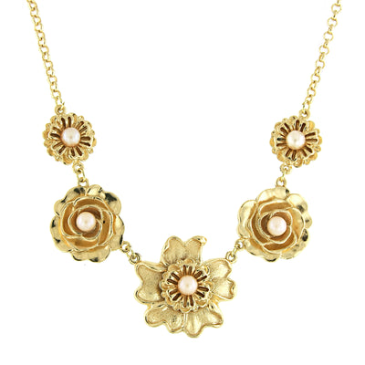 Gold-Tone Pink Costume Pearl Flower Collar Necklace 16 - 19 Inch Adjustable