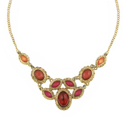 Gold-Tone Padparadscha Fuchsia Siam Red Bib Necklace 16 - 19 Inch Adjustable