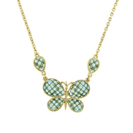 Fashion Jewelry - Aqua Verde Butterfly Necklace