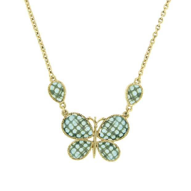 Gold-Tone Lt. Aqua Faceted Butterfly Necklace 16 In Adj