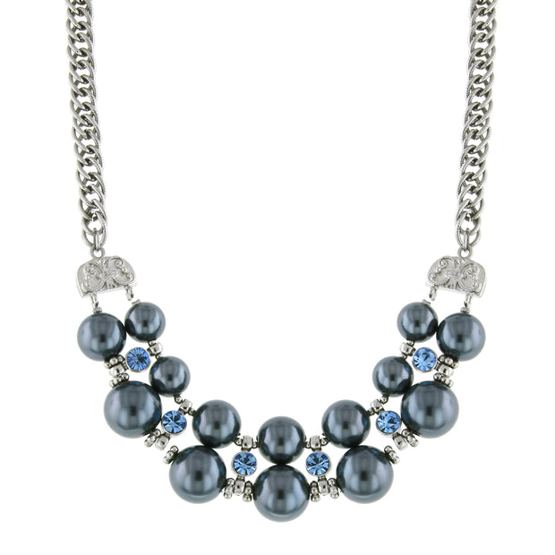 Silver Tone Light Blue Crystal Grey Costume Pearl Necklace 16   19 Inch Adjustable